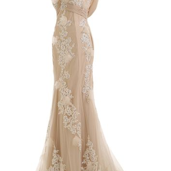 Sunvary Gorgeous Mermaid Wedding Dresses for Bride Lace and Chiffon