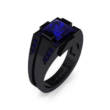 Mens Modern 14k Black Gold 2.0 Carat Princess Blue Sapphire Wedding Ring R1020M-14KBGBS