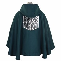 Cool Attack on Titan Halloween   Survey Corps Black Cape Robes Cloak no  Eren Jaeger Cosplay Costume Anime Japanese AT_90_11