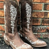 Forever and Always Boots are beautiful! They are brown vegan leather and feature beautiful embroidered lace detail.