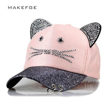 meow Women's Summer fall Pink hat Cat ears Cat  Baseball cap with rings and  lace Diamond cute girl hat