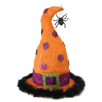 "15.75"" Lighted Orange and Purple Sisal Witch's Hat Halloween Yard Art Decoration"