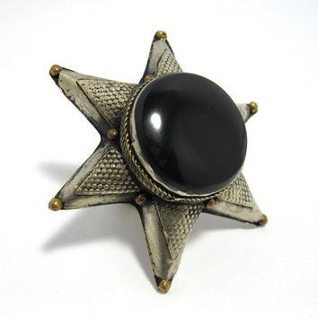 FREE SHIPPING Vintage Kuchi Tribal Black Onyx Star Ring,Turkmen Jewelry,Antique,Ethnic,Gothic,Medieval,Bohemian Gypsy,Alpaca Silver,Handmade