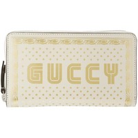Gucci Unisex Sega Guccy Stars White Moon Gold Zipper Leather Wallet 510488