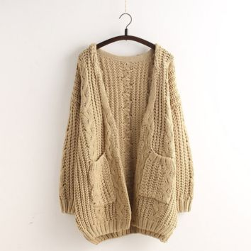 Cardigan Loose Sweater Pocket Buttoned Sweater Jacket