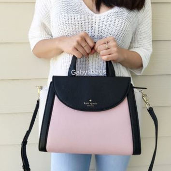 NWT KATE SPADE COBBLE HILL Medium Adrien Pink White Satchel Handbag Crossbody
