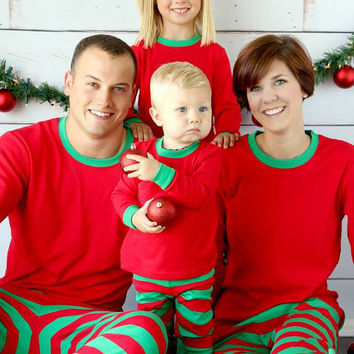 Personalized Christmas Pajamas, Monogrammed PJs, Embroidered Kids Pajamas, Red Pajamas, Green Pajamas