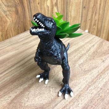 Up-cycled Black T-Rex Dinosaur Planter