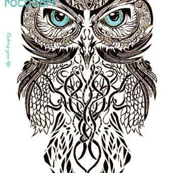 Rocooart MC690 19X12cm HD Large Tattoo Sticker Body Art Gray Draw OWL Temporary Tattoo Stickers Flash Taty Tatoo