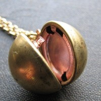 vintage ball locket necklace