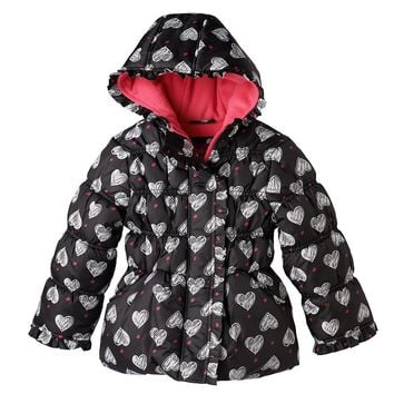 Pink Platinum Heart Polka-Dot Puffer Jacket - Girls 4-6x