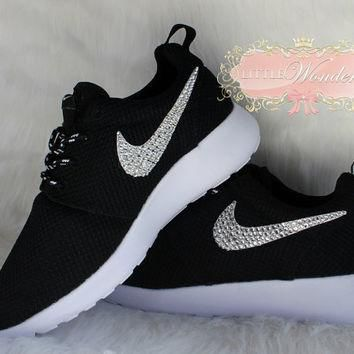 Swarovski Rhinestone Women Nike Roshe Run Black Shoes