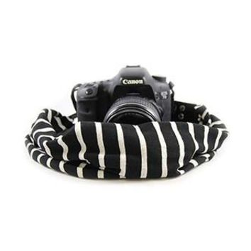 Black And Ivory Scarf Camera Strap - Capturing Couture - CASCARF-STBV
