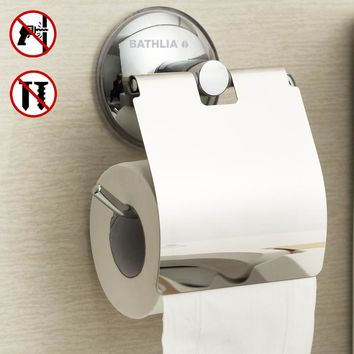 Stainless Steel Toilet paper Holder Heavy Duty  Suction Wall Mount Toilet Tissue Paper Holder Bathroom Roll Paper Holder