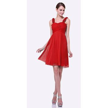 Knee Length Red Bridesmaid Dress Empire Waist Wide Flower Straps