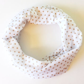 Beige Polka Dot on White Knit Childrens Tube Scarf Toddler Fall Scarf Fashion Scarves for Babies Polka Dot Toddler Scarves