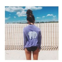 Ivory Ella POCKETED LAVENDER PAISLEY PRINT Long Sleeve T Size Small Women's NEW!