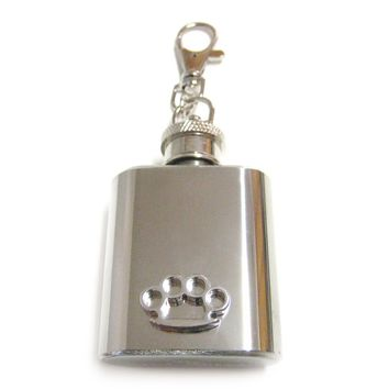 1 Oz. Stainless Steel Key Chain Flask with Brass Knuckle Pendant