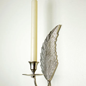 silver candlestick holder / feather decor / hanging silver wall sconce / metal wall candle holder