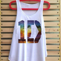 1D colorful beach sea shirt one direction tank top singlet clothing vest tee tunic - size S M