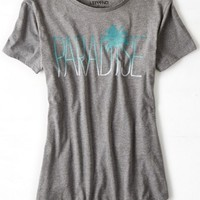 AEO Women's Lst & Fnd Paradise Graphic T-shirt (Medium Heather Grey)