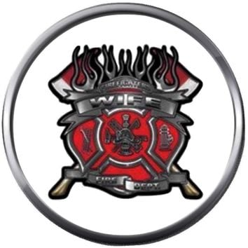 Red Fire Axe Shield Maltese Cross Heart Firefighter Wife Thin Red Line Courage Under Fire 18MM-20MM Snap Charm Jewelry New Item