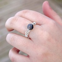 Black Agate Wire Wrapped Ring Aromatherapy Ring Jewelry