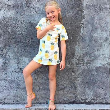 Newest Fashion Cute Baby Girls Kids t Shirts Pineapple Print Summer One-pieces Casual T-Shirt Clothes