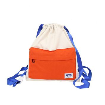 University College Backpack New Portable Ultra Light Travel  Fashion Canvas Contrast Color Simple Drawstring   Style Honeymoon BagAT_63_4