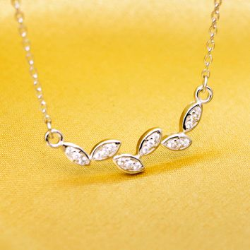 Sweet inlay zircon tree branch 925 sterling silver necklace, a perfect gift