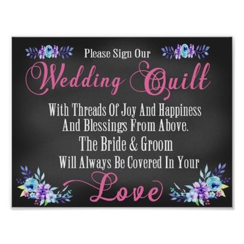 "Wedding Quilt ""Guest Book"" Squares Sign Poster"