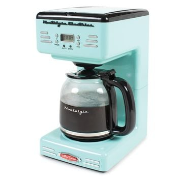 Nostalgic Retro Vintage Old Fashion CounterTop Programmable 12 Cup Coffee Machine Maker