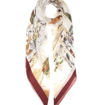 Printed silk and cashmere-blend scarf