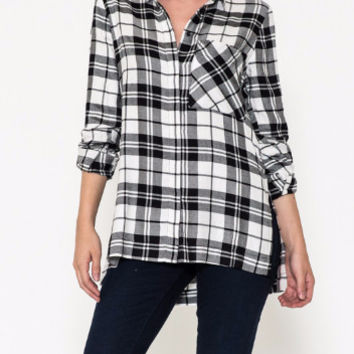 Rollin' In the Hay Plaid Ladies Shirt-Staccato- Black/White