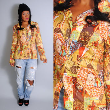 Vintage 1970s Polyester  EGYPTIAN graphic print long sleeve button down ethnic tribal print blouse