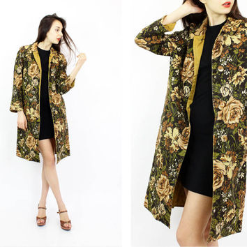 vintage floral jacket M | 60s olive green & brown print reversible jacket