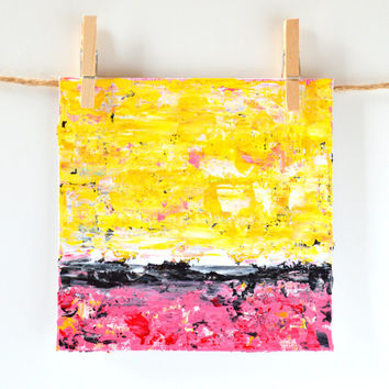 Original Acrylic Abstract, Fine Art Card, Modern Painting, Pallet Knife Art, Yellow and Pink Gift Idea