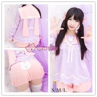 S/M/L Miss Purple Bunny Top and Bloomer Set SP152290