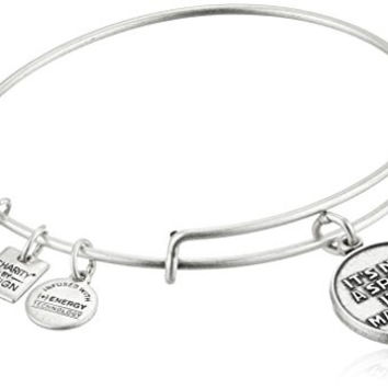 Alex and Ani Charity By Design It's Not A Sprint It's A Marathon Rafaelian Silver Bangle Bracelet