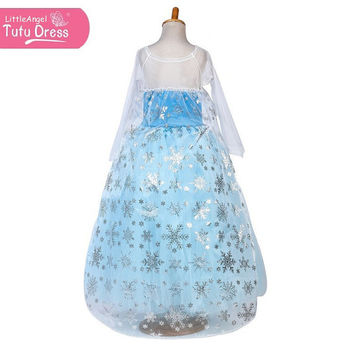 Long Sleeve - Princess Frozen Elsa Tutu Full Length Dress with Snowflake Cape - Birthday Party in Age 2-10yrs