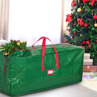 Zober Extra Large Christmas Tree Bag - Artificial Christmas Tree Storage for Un-Assembled Trees up to 9' Tall with Sleek Zipper - Also Accommodates Holiday Inflatables | 65 x 15 x 30 … (Green)