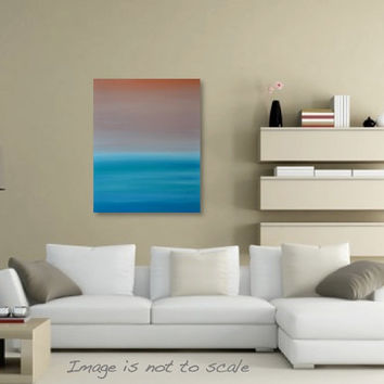 Minimalist Seascape Pastel Beach Ocean Sunset Painting - Canvas Acrylic Wall Art Decor - Turquoise, Orange - 24 x 30 Vertical- FREE SHIPPING