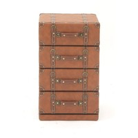 Alluring Wood Leather 4 Drawer Cabinet