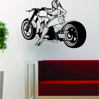 Motorcycle Pin Up Girl Design Decal Sticker Wall Vinyl Art Decor Home