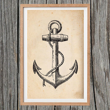 Vintage Anchor Print Nautical Poster Antique Wall Art