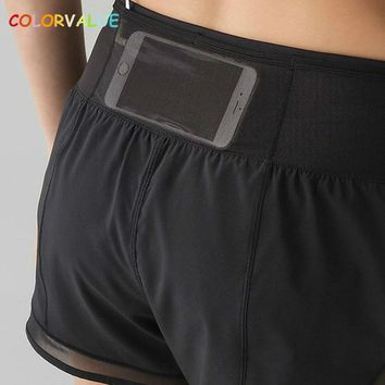 Colorvalue Quick Dry Back Pocket Athletic Shorts Women Mesh Patchwork Fitness Gym Shorts Mid Waist Workout Sport Shorts S-XL