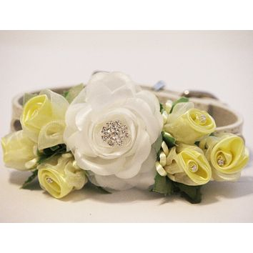 White Yellow Wedding Dog Collar. White Yellow Floral with Rhinestones -High Quality Leather Collar, Wedding Dog Accessory