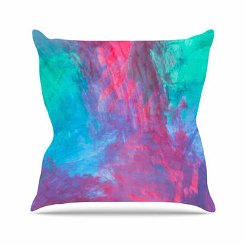 "NL Designs ""Bold Choice"" Teal Painting Outdoor Throw Pillow"