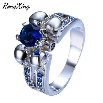RongXing Vintage Punk Skull Blue/Green/Pink/White/Black Round Zircon Rings For Women 925 Sterling Silver Filled Birthstone Ring