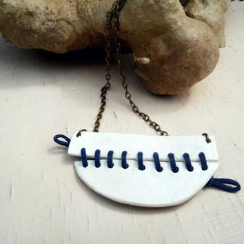 White Navy Blue Ceramic necklace, Simple Porcelain necklace, Laced Porcelain necklace, Natural Clay necklace, Contemporary jewelry for her